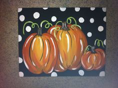 16 x 20 in. black canvas with white polka dots  and pumpkins. on Etsy, $30.00