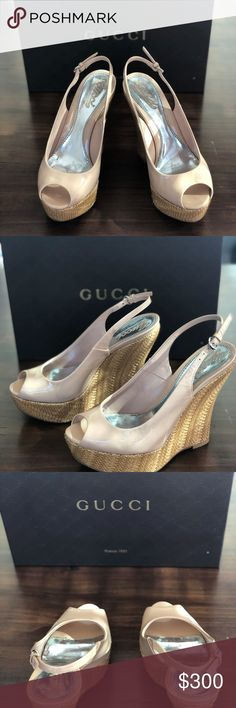 Gucci Nude Peep Toe Platform Wedge STYLE NAME: VITELLO VERNICE SOFT SABLE.38 Purchased at Nordstroms.  Tag still on box including price purchased. Dust bag included. Gently worn.  Too small for my feet. Stunning wedge perfect for summer.  I'm more a size 6 in shoes, so if you are a true 5.5 or 5, these will fit. 5 inch wedge  1.5 inche platform Gucci Shoes Wedges