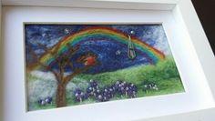 'Rainbow, Robin, Bluebells' - needle-felt commission