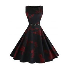Vintage Sleeveless Floral Fit and Flare Dress - Red L Yes Swing Dress