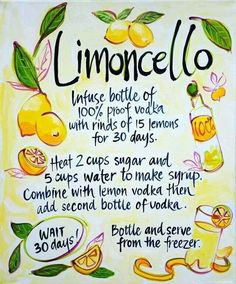 Limoncello, authentic recipe from the Amalfi Coast to make a very refreshing after dinner liqueur using organic lemons. This recipe produces limoncello with a kick. Optionally you can increase the amount of water to make it less potent. Cocktails, Cocktail Drinks, Cocktail Recipes, Martinis, Party Drinks, Wine Drinks, Dinner Recipes, Alcoholic Desserts, Dessert Drinks