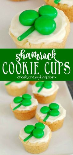 Shamrock Cookie Cups - A simple sugar cookie recipe jazzed up for St. Patrick's Day with candy on top. A cute and tasty treat! #stpatricksday #stpatricks #shamrocks #cookiecups