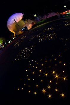 Epcot's sparkling sidewalks at night