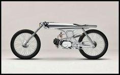 EVE by Bandit 9 Motorcycles - An incredible custom. This really is a small motorcycle, not a motorized bicycle. Looks to have a mid- Honda engine of between 50 and displacement. Concept Motorcycles, Custom Motorcycles, Custom Bikes, Cars And Motorcycles, Honda Motorcycles, Honda Cub, Vespa, Ducati, Side Car