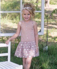 Nude Pink Overlay Dot Dress - Infant, Toddler & Girls by Sweet Charlotte #zulily #zulilyfinds