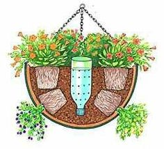 Water reservoir for hanging or herb baskets