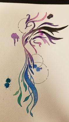 Watercolor Phoenix Tattoo Idea Watercolor Phoenix Tattoo Idea The beautiful . - Watercolor Phoenix Tattoo Idea Watercolor Phoenix Tattoo Idea The most beautiful picture for phoeni - Small Phoenix Tattoos, Phoenix Tattoo Design, Small Tattoos, Tattoo Phoenix, Phoenix Art, Pretty Tattoos, Beautiful Tattoos, Tattoo Side, Aquarell Phönix Tattoo
