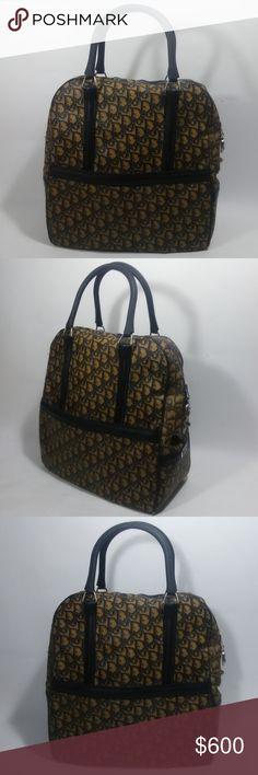 891d5a44814 CHRISTIAN DIOR 1970 s Vintage Travel Tote Bag Christian DIor Travel Tote Bag  14.5