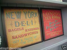 Set-of-2-Retro-Vintage-Metal-Wall-Plaques-NEW-YORK-DELI-LONDON-TEA-ROOM-Signs