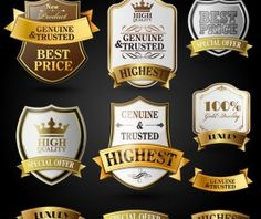High quality labels with ribbon banner vector