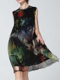 Elegant Floral-print Sleeveless Midi Dress
