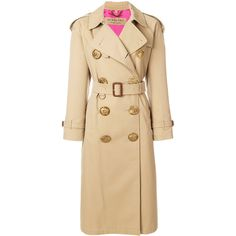 Burberry Bird Button trench coat (8.120 BRL) ❤ liked on Polyvore featuring outerwear, coats, double breasted coat, beige coat, waist belts, burberry and long sleeve coat