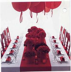 Red Balloon Table Setting