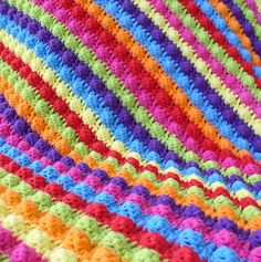 Crocheted Cotton Baby Blanket with Bobble Stitch Bright by OneUrth
