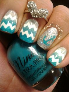 Teal gray and silver chevron nails with anchor
