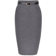 Grey Belted Knit Pencil Skirt ($28) ❤ liked on Polyvore featuring skirts, grey, midi skirt, grey midi skirt, mid-calf skirt, elastic waist skirt and mid calf pencil skirt