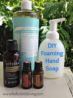 Foaming Hand Soap Distilled Water 2 Tbsp Castile Soap (Baby or Unscented- I used Dr. Bronner's) 2 tsp. Fractionated Coconut Oil, Olive Oil, or Almond Oil 10 drops Essential Oil (On Guard, Wild Orange, Citrus Bliss, Lavender, Peppermint, and Melaleuca, are all great options) Add distilled water to an empty foaming soap dispenser, leaving about 1 inch from the top for the pump. Add the Castile Soap, Fractionated Coconut Oil, and Essential Oils. Screw on soap dispenser and give it a gentle…