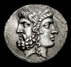 Janiform head of Laureate Male and Diademed Female. Tetradrachm from Tenedos 100-70BCE