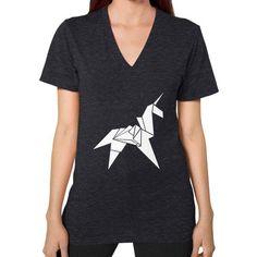 Origami Unicorn V-Neck (on woman) Shirt