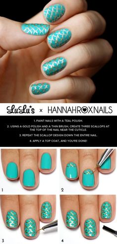 30+ Classic Mermaid Nails art Design #diy #nailart