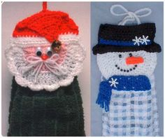Free Dish Towel Topper Patterns | Maggie's Crochet · Santa and Snowman Towel Toppers Crochet Pattern