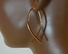 Ear Gauges 2 Inch Fish Symbol Hoop Earrings Gold Silver Black Copper 12 Gauge Open Threader Dangle 656