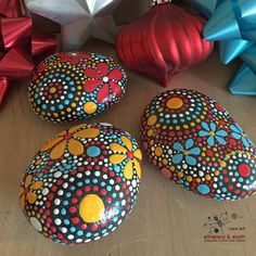 Rock Art, Unique Holiday Gift, Hand Painted Stones, Painted Rock, Mandala Design, Hand Painted Rocks, fields of color collection Trio #68