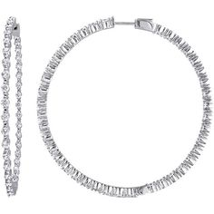 14K 2.80 Ct. Tw. Diamond Hoop Earrings ($4,500) ❤ liked on Polyvore featuring jewelry, earrings, jewelry & watches, nocolor, round diamond earrings, 14k jewelry, diamond jewellery, facet jewelry and diamond earring jewelry