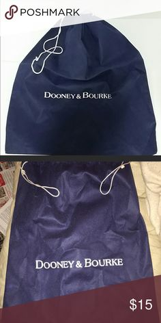 "Dooney & Bourke Navy Blue Dust Bag NWOT Dooney and & Bourke Large navy blue with white print dust bag Perfect for a small to medium size Dust bags are NOT recommended to be used in Fl so I'm selling my moms!  It is too humid and the hardware rusts. So this was in her drawer, 100% authentic 15.5"" X 18.5"" Feels like a thin canvas type  New without tags Smoke free home Dooney & Bourke Accessories"