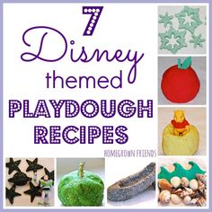 7 creative playdough recipes inspired by the Disney World Park attractions and movies. So much fun from Homegrown Friends!