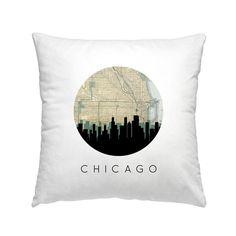 Chicago Skyline Square Pillow