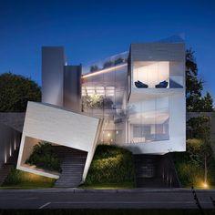The 'CC House'. Designed by Lassala + Orozco Arquitectura Located in Zapopan, Jalisco, Mexico. Photos by TREX Arquitectos. Unique House Design, Cool House Designs, Modern Design, Amazing Architecture, Architecture Design, Architecture Interiors, Landscape Architecture, Archi Design, 3d Design