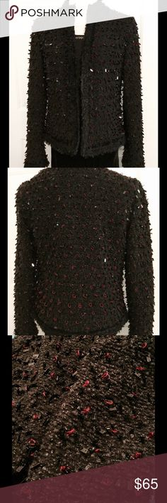 """FINAL PRICE HP  Oscar De La Renta Boucle Jacket O by Oscar is an Oscar De La Renta line for Macy's, Belk, etc. This is a gorgeous red and black boucle jacket, with beading and spangles. There are two hook and eye closures, one at the neckline and one towards the middle of the jacket. It is in perfect condition, and has never been worn. Bust-18"""" measured flat. Sleeve- 24"""". NWOT. Oscar de la Renta Jackets & Coats"""