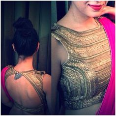 Lovely design for a gold saree blouse. Pairing it with a contrasting saree would…