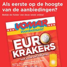 De folder van deze week staat weer vol EUROKRAKERS: 50 aanbiedingen voor maar 1 euro! En vergeet deze week niet snoep voor  SINT MAARTEN mee te nemen.  Bijvoorbeeld Bounty, Mars of Snickers Mini's, 3 zakken voor maar 5 euro.