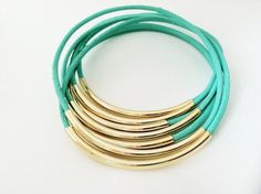 Mint Leather Bangle Bracelets by Leatherwraps, $23.00
