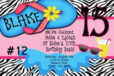 Girls Pool Swimming  Zebra Party Splash Party You Print Birthday Invitation on Etsy, $8.99