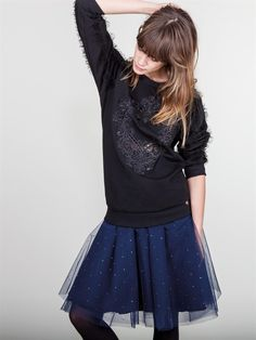Naughty Dog FW1617 black embroidered blouse and blue tulle skirt decorated with precious Swarovski crystals