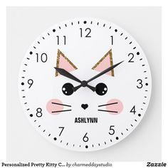 Shop Kitty Cat Large Clock created by charmeddaystudio. Cat Bedroom, Bedroom Ideas, Girls Bedroom, Bedroom Decor, Cat Clock, Pretty Cats, Pretty Kitty, Cat Posters, Cat Wall