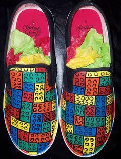 Painted Canvas Shoes, Painted Vans, Custom Painted Shoes, Hand Painted Shoes, Custom Shoes, Lego Painting, Vans Kids, Lego For Kids, Kids Canvas