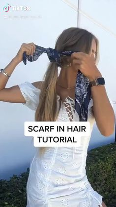 Bandana Hairstyles, Easy Hairstyles For Long Hair, Cute Hairstyles, Hair Scarf Styles, Hair With Scarf, Curly Hair Styles, Braided Scarf, Hair Upstyles, Aesthetic Hair