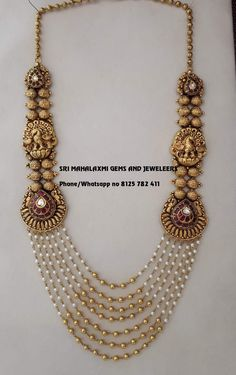 We make on customized orders also. Visit tusnfor wholesale prices phone no 8125 782 411 Pearl Necklace Designs, Jewelry Design Earrings, Gold Earrings Designs, Gold Necklace, Pearl Jewelry, Antique Jewelry, Gold Temple Jewellery, Gold Jewelry Simple, Schmuck Design