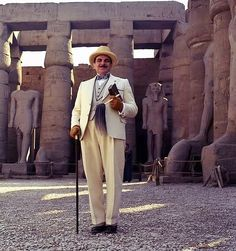 "2004 ""Death on the NIle"". David Suchet as Poirot Agatha Christie's Poirot, Hercule Poirot, Best Mysteries, Cozy Mysteries, Death On The Nile, David Suchet, Tv Series To Watch, Miss Marple, Fiction Novels"