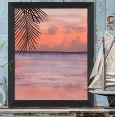 Sunset print, horizon art print, modern beach house, coastal decor beach, nautical artwork, ocean art print, tropical ocean - Sunset palm