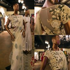 This ivory embellished blouse with floral motifs from Varun Bahl's Amazon India Couture Week 2015 collection is truly elegance personified.