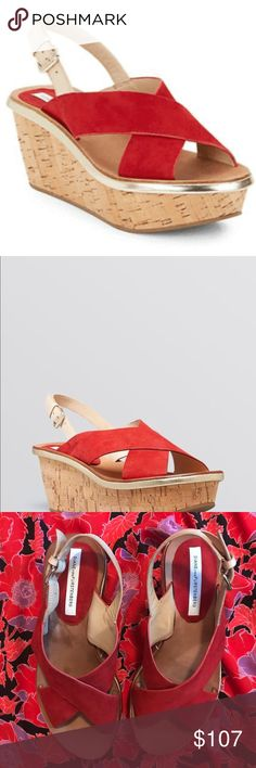 Diane Von Furstenberg Kid Suede Red Sandal Cork wedge platform sandal featuring metallic sheen around footbed and two-tone upper. ... A master at designing the dress, Diane von Furstenberg adds a fresh yet captivatingly feminine perspective, making it eminently appropriate for almost all occasions. ...  These gorgeous platforms will be your go to shoe for years to come! Seasonless, timeless and exquisitely crafted, they are in almost new condition. Perfect for upcoming holiday fêtes. Sexy…