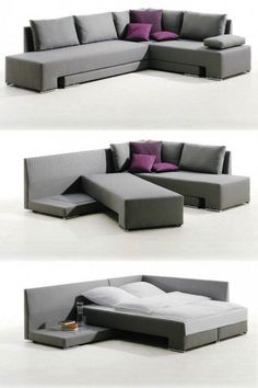 20 Pieces of Convertible Furniture You'll Actually Use Corner Suite Vento (price upon request): Here's a spacious corner couch that can easily be transformed into one double bed or two twin beds, making it the perfect piece for those who love to entertain Smart Furniture, Space Saving Furniture, Living Room Furniture, Living Room Decor, Home Furniture, Furniture Ideas, Rustic Furniture, Antique Furniture, Furniture Stores