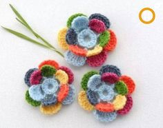Items similar to Crochet Applique - Multicolored Flowers - Poppy Flowers - Any Colour - Made to Order on Etsy Crochet Flower Patterns, Flower Applique, Crochet Motif, Irish Crochet, Crochet Flowers, Hand Crochet, Yarn Flowers, Crochet Appliques, Crochet Crafts