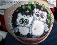 Mummy & Baby Owl baby bump painting