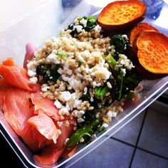 Smoked salmon, sweet potatoes, spinach, barley & cottage cheese